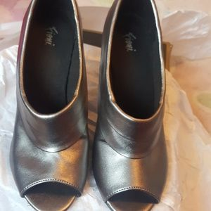 Pewter open toe shoes